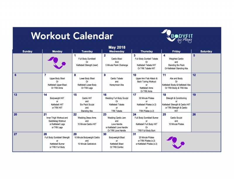 Workout Calendar  Bodyfit By Amy